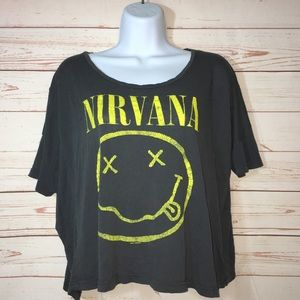 Nirvana SMILEY Face Graphic Band Distressed Shirt